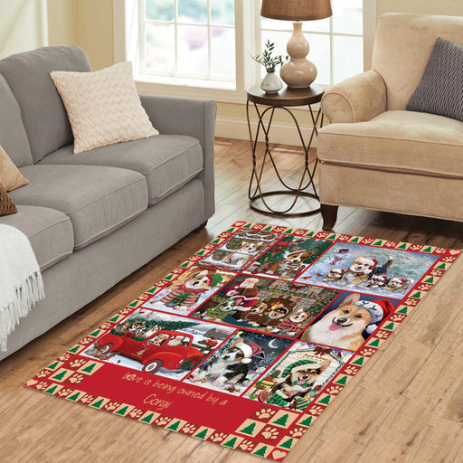 Love is Being Owned Christmas Corgi Dogs Area Rug