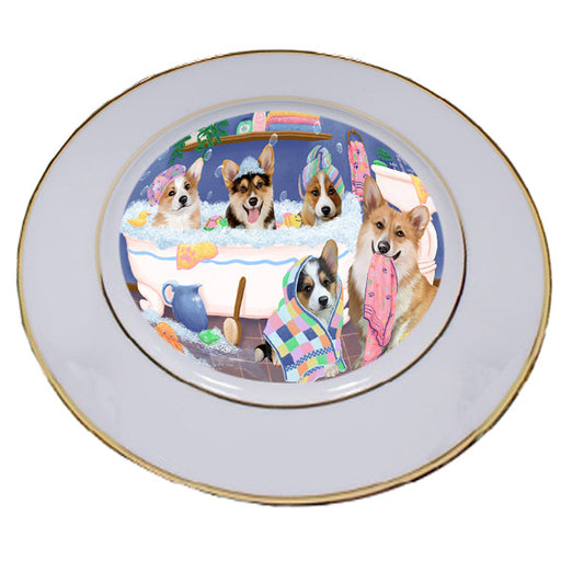 Rub A Dub Dogs In A Tub Corgis Dog Porcelain Plate PLT55133