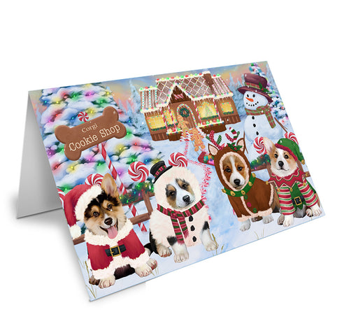 Holiday Gingerbread Cookie Shop Corgis Dog Note Card NCD73703