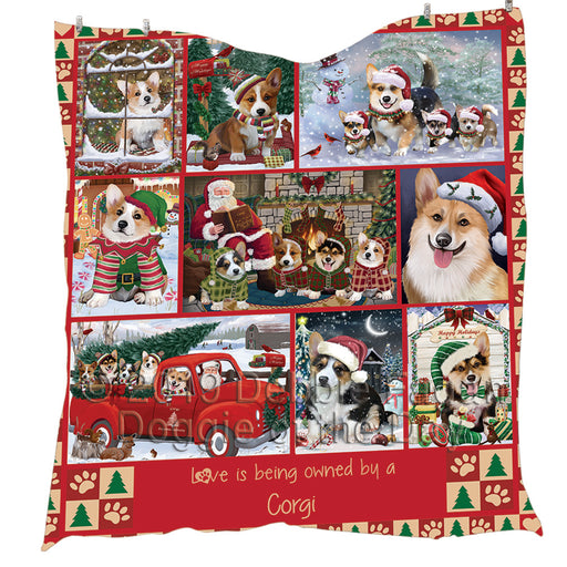 Love is Being Owned Christmas Corgi Dogs Quilt