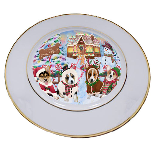 Holiday Gingerbread Cookie Shop Corgis Dog Porcelain Plate PLT54745
