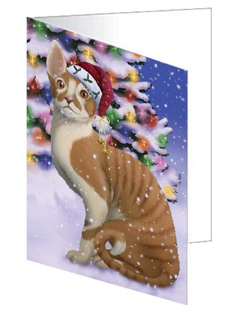 Winterland Wonderland Cornish Red Cat In Christmas Holiday Scenic Background Note Card NCD71621