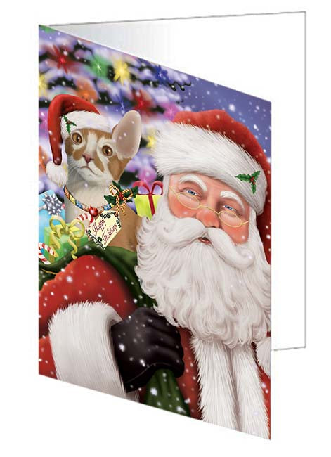 Santa Carrying Cornish Red Cat and Christmas Presents Note Card NCD71027