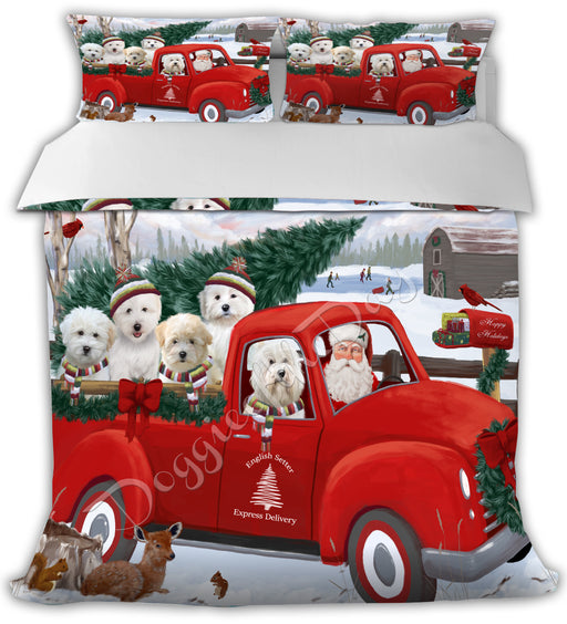Christmas Santa Express Delivery Red Truck Coton De Tulear Dogs Bed Duvet Cover DVTCVR48273