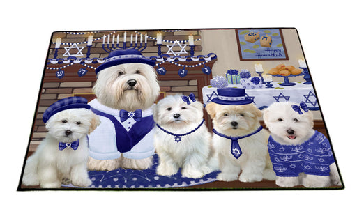Happy Hanukkah Family Coton De Tulear Dogs Floormat FLMS55546