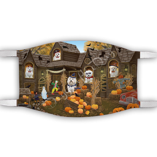 Haunted House Halloween Trick or Treat  Coton De Tulear Dogs Face Mask FM49694