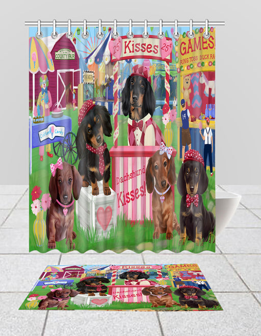Carnival Kissing Booth Dachshund Dogs  Bath Mat and Shower Curtain Combo
