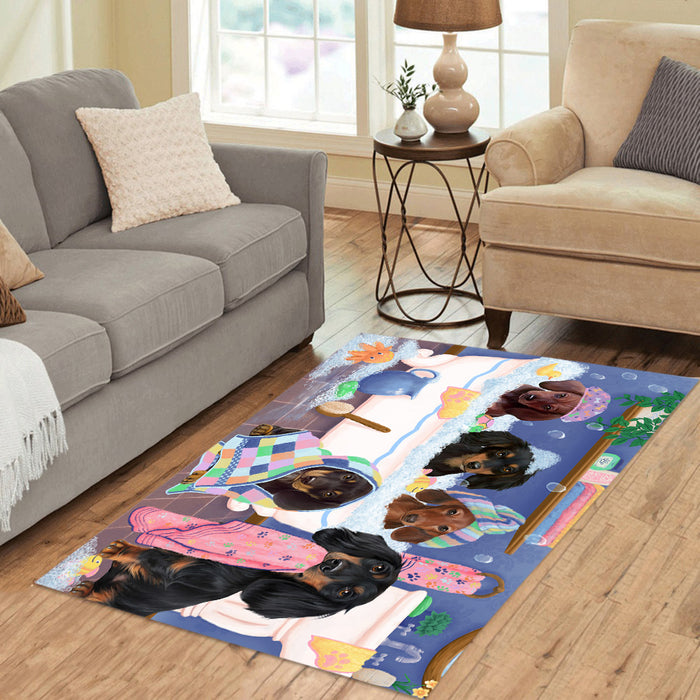 Rub A Dub Dogs In A Tub Dachshund Dogs Area Rug