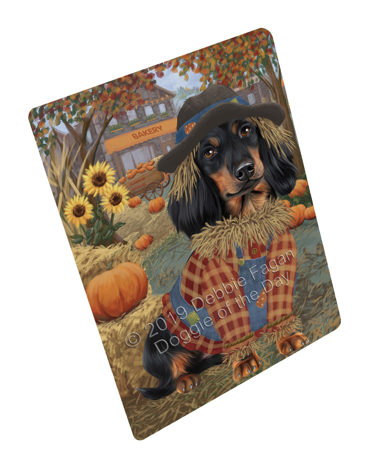 Halloween 'Round Town And Fall Pumpkin Scarecrow Both Dachshund Dogs Large Refrigerator / Dishwasher Magnet RMAG104754