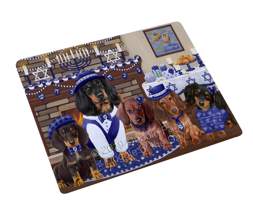 Happy Hanukkah Family and Happy Hanukkah Both Dachshund Dogs Large Refrigerator / Dishwasher Magnet RMAG105456