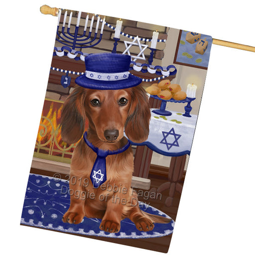 Happy Hanukkah Dachshund Dog House Flag FLG65883