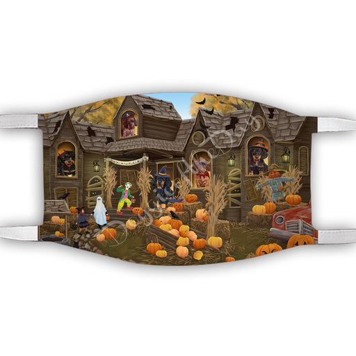 Haunted House Halloween Trick or Treat  Dachshund Dogs Face Mask FM49695