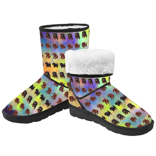 Paradise Wave Dachshund Dogs  Kid's Snow Boots