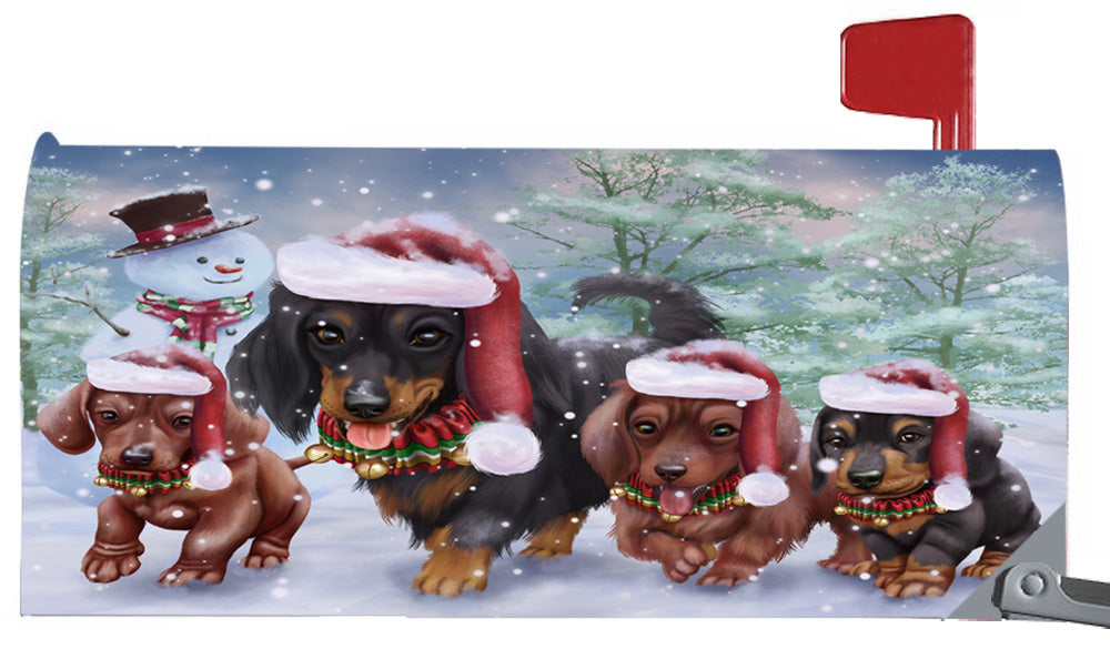 Magnetic Mailbox Cover Christmas Running Family Dachshunds Dogs MBC48272