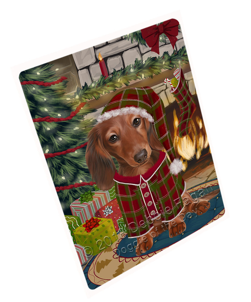 "The Stocking was Hung Dachshund Dog Magnet MAG71013 (Mini 3.5"" x 2"")"