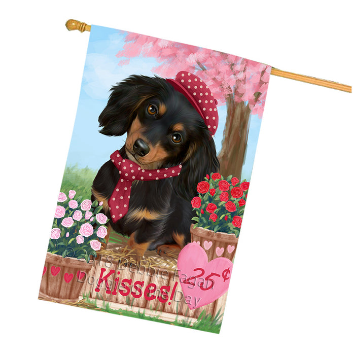 Rosie 25 Cent Kisses Dachshund Dog House Flag FLG56450