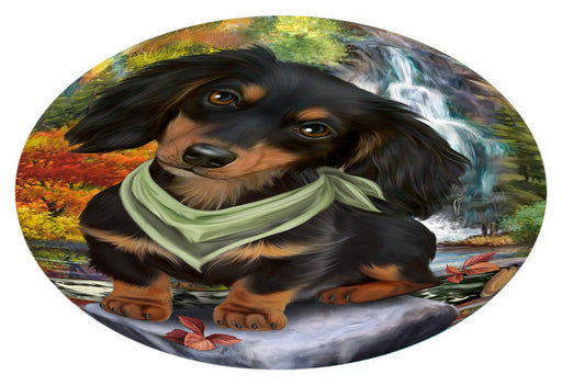 Scenic Waterfall Dachshund Dog Oval Envelope Seals OVE63464
