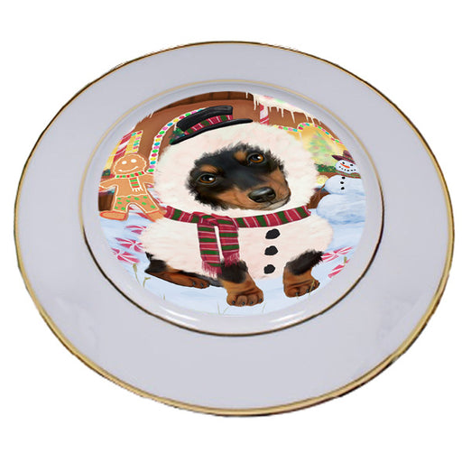 Christmas Gingerbread House Candyfest Dachshund Dog Porcelain Plate PLT54578
