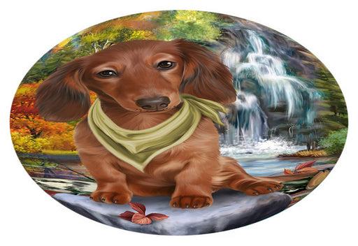 Scenic Waterfall Dachshund Dog Oval Envelope Seals OVE63468