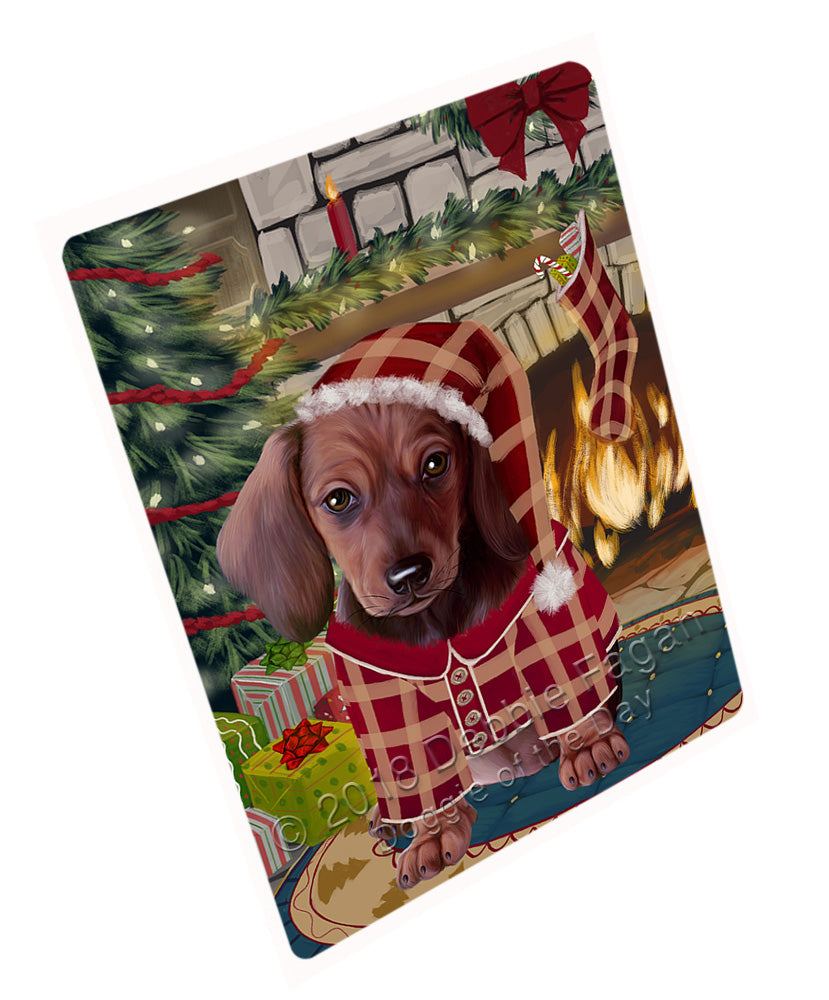 "The Stocking was Hung Dachshund Dog Magnet MAG71019 (Mini 3.5"" x 2"")"