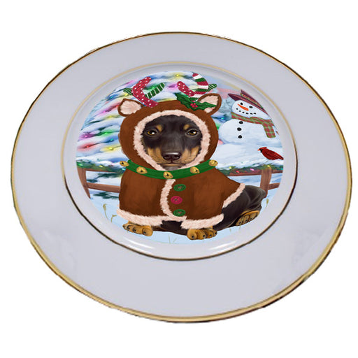 Christmas Gingerbread House Candyfest Dachshund Dog Porcelain Plate PLT54579