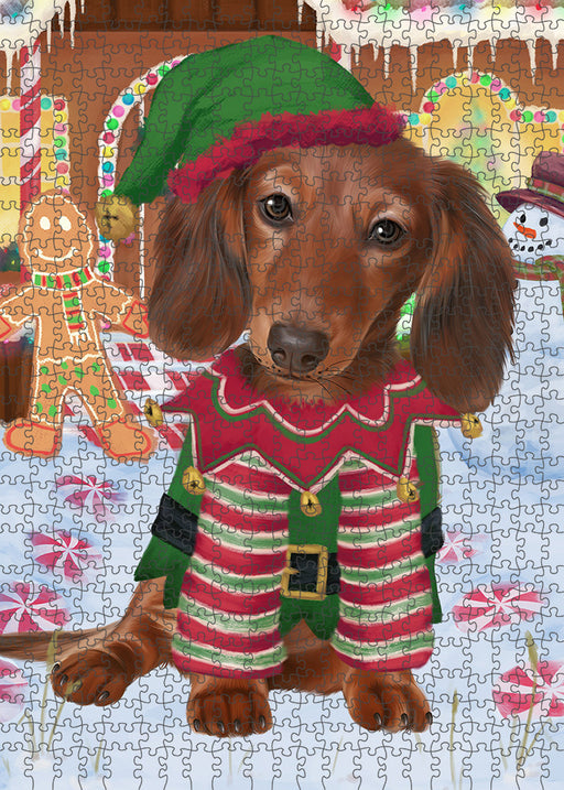 Christmas Gingerbread House Candyfest Dachshund Dog Puzzle with Photo Tin PUZL93124