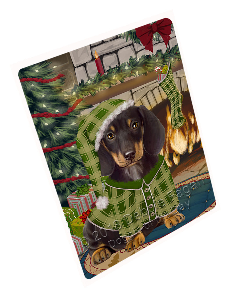 "The Stocking was Hung Dachshund Dog Magnet MAG71022 (Mini 3.5"" x 2"")"