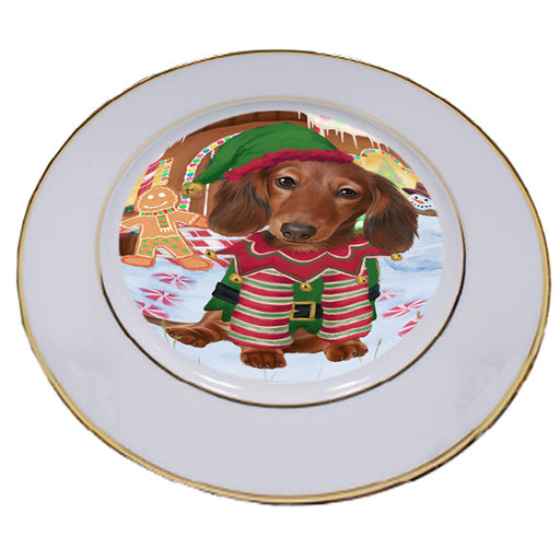 Christmas Gingerbread House Candyfest Dachshund Dog Porcelain Plate PLT54580