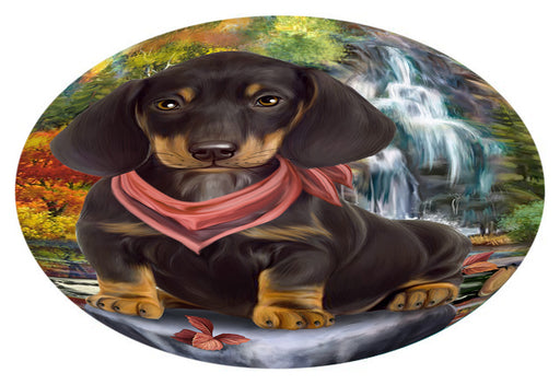Scenic Waterfall Dachshund Dog Oval Envelope Seals OVE63472