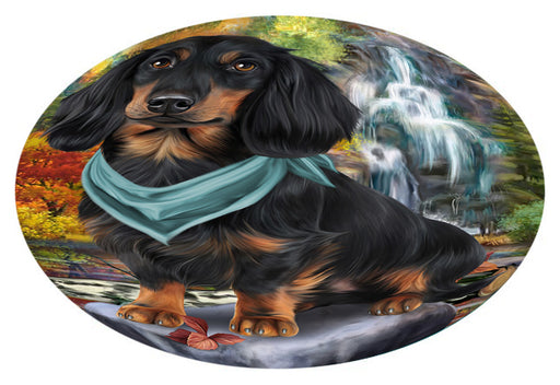 Scenic Waterfall Dachshund Dog Oval Envelope Seals OVE63480
