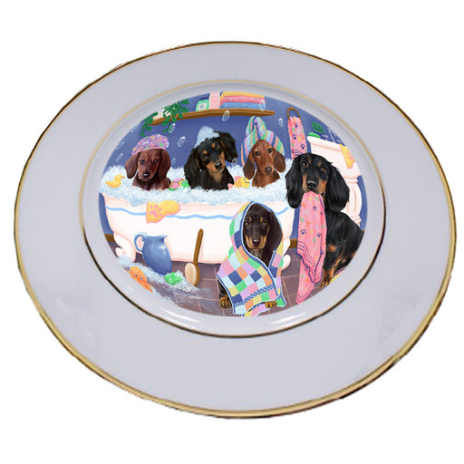 Rub A Dub Dogs In A Tub Dachshunds Dog Porcelain Plate PLT55134