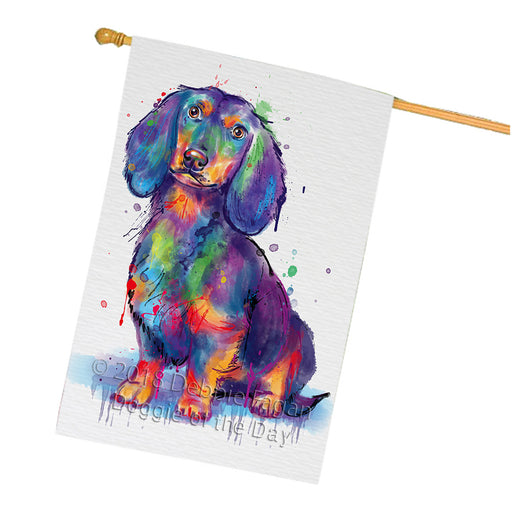 Watercolor Dachshund Dog House Flag FLG65108