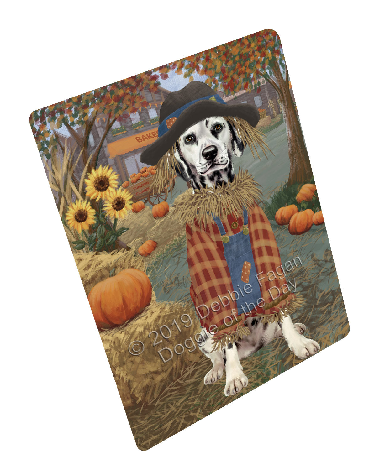 Halloween 'Round Town And Fall Pumpkin Scarecrow Both Dalmatian Dogs Large Refrigerator / Dishwasher Magnet RMAG104760