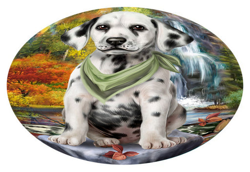 Scenic Waterfall Dalmatian Dog Oval Envelope Seals OVE63488