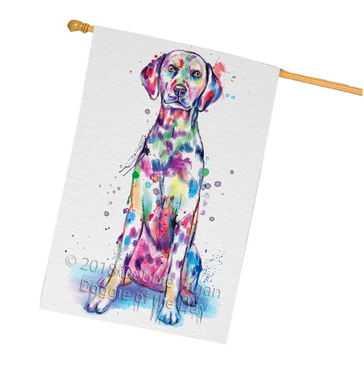 Watercolor Dalmatian Dog House Flag FLG65109