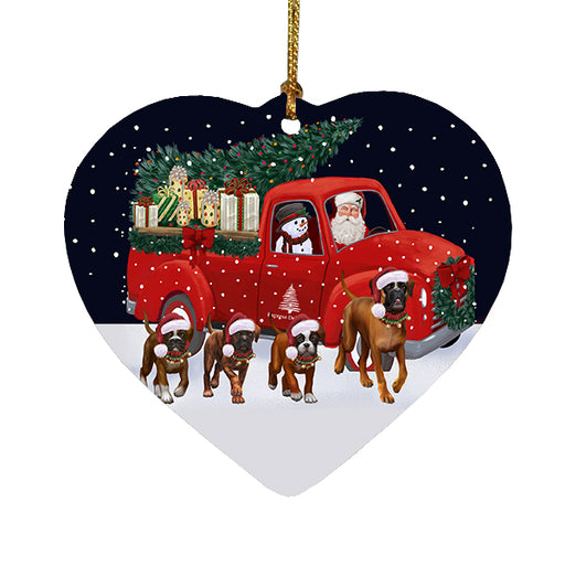 Christmas Express Delivery Red Truck Running Boxer Dogs Heart Christmas Ornament RFPOR58088