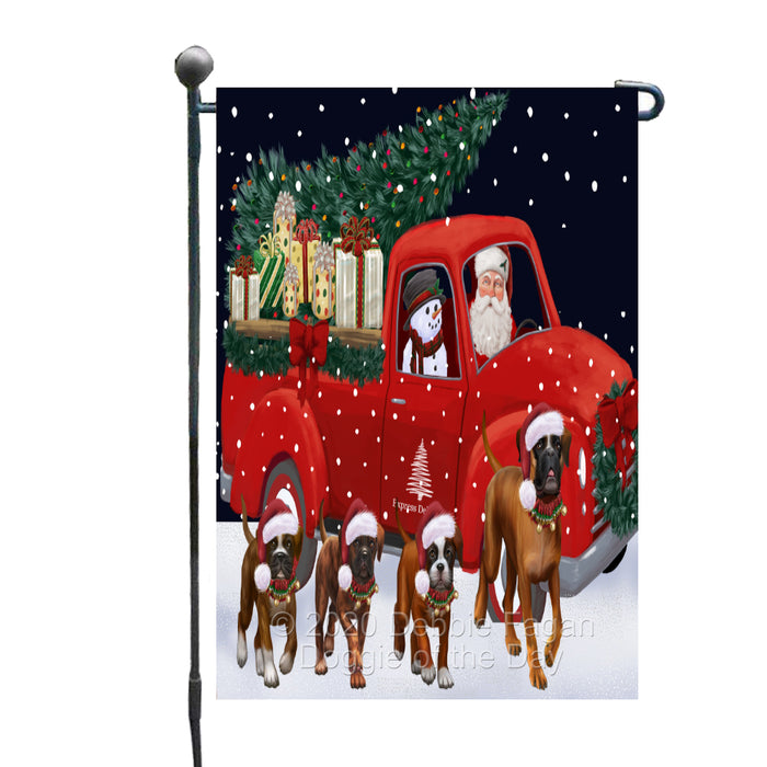Christmas Express Delivery Red Truck Running Boxer Dogs Garden Flag GFLG66461