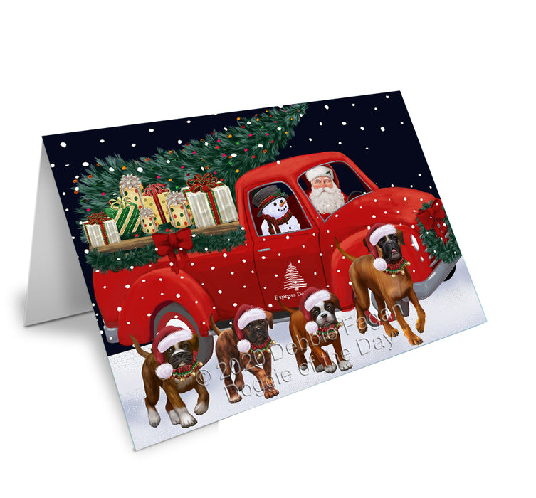 Christmas Express Delivery Red Truck Running Boxer Dogs Greeting Card GCD75125