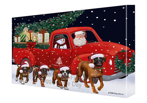 Christmas Express Delivery Red Truck Running Boxer Dogs Canvas Print Wall Art Décor CVS146051