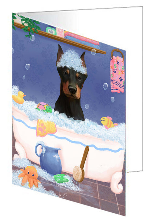 Rub A Dub Dog In A Tub Doberman Dog Greeting Card GCD79409