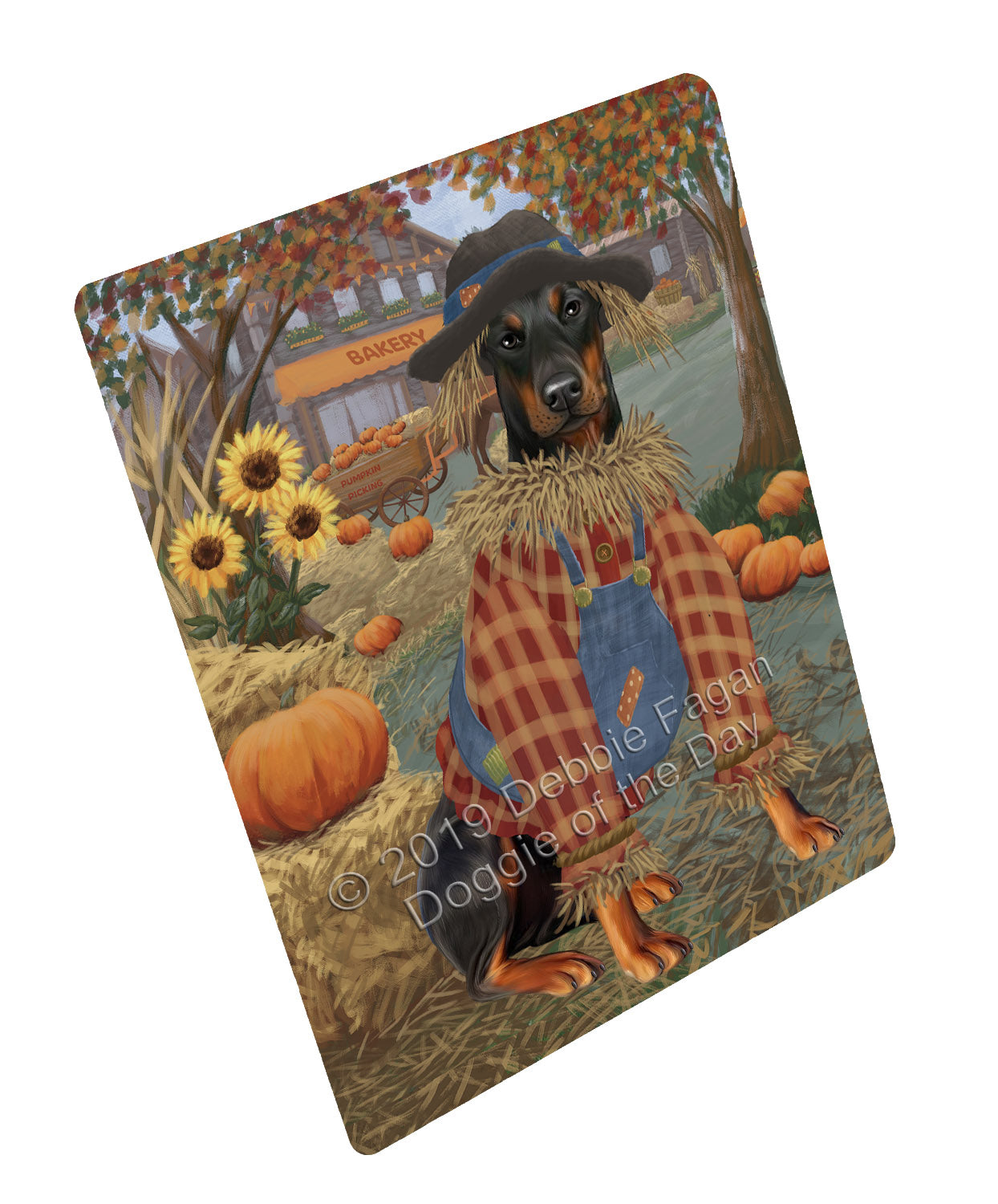 Halloween 'Round Town And Fall Pumpkin Scarecrow Both Doberman Dogs Large Refrigerator / Dishwasher Magnet RMAG104766
