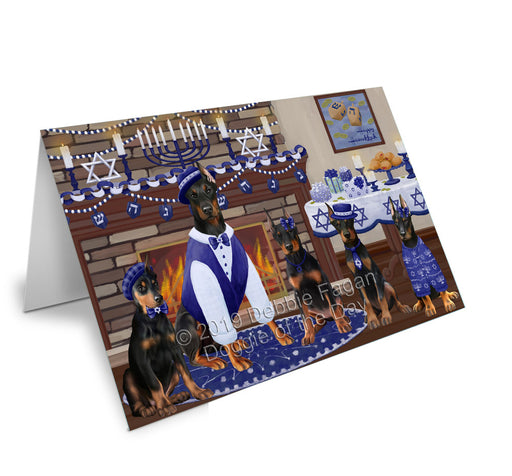 Happy Hanukkah Family Doberman Dogs Greeting Card GCD78197