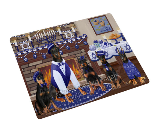 Happy Hanukkah Family and Happy Hanukkah Both Doberman Dogs Large Refrigerator / Dishwasher Magnet RMAG105468