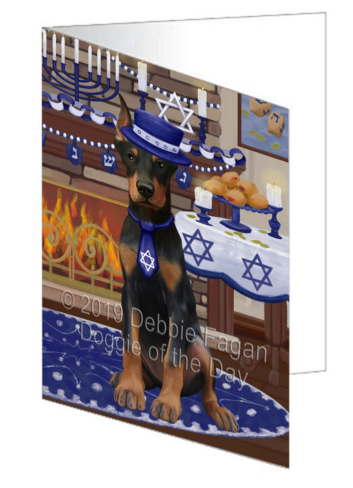 Happy Hanukkah Doberman Dog Greeting Card GCD78365