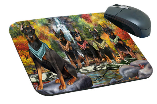 Scenic Waterfall Doberman Pinschers Dog Mousepad MPD51878