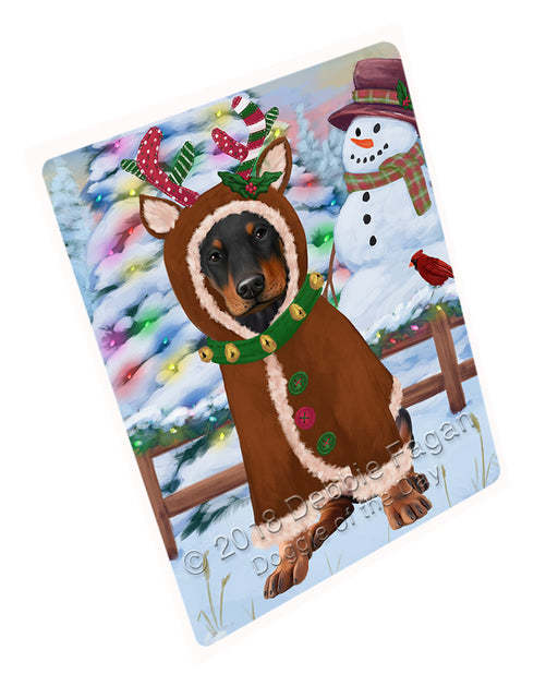 Christmas Gingerbread House Candyfest Doberman Pinscher Dog Large Refrigerator / Dishwasher Magnet RMAG100230