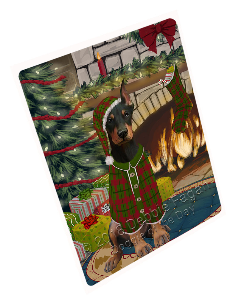 "The Stocking was Hung Doberman Pinscher Dog Magnet MAG71040 (Mini 3.5"" x 2"")"