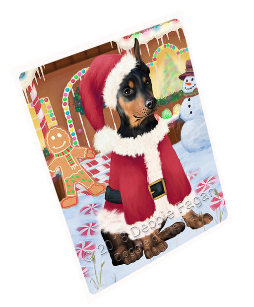 Christmas Gingerbread House Candyfest Doberman Pinscher Dog Large Refrigerator / Dishwasher Magnet RMAG100236