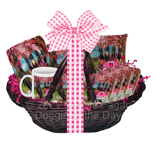 Mother's Day Gift Basket Doberman Pinscher Dogs Blanket, Pillow, Coasters, Magnet, Coffee Mug and Ornament