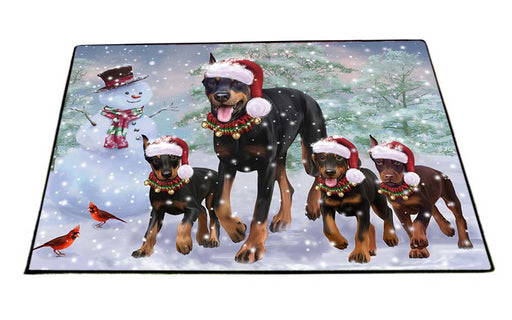 Christmas Running Family Doberman Pinschers Dog Floormat FLMS52827